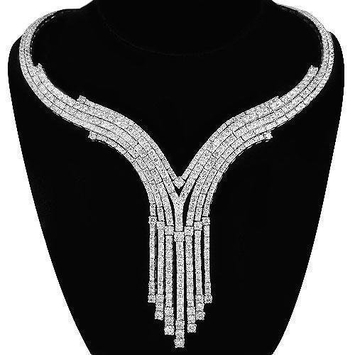 14K White Solid Gold Womens Diamond Necklace 10.75 Ctw – Avianne .