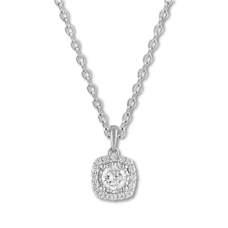 Diamond Necklace 1 ct tw Round-cut 14K White Gold | Womens .