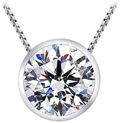 Amazon.com: 1 Carat Bezel Set Solitaire Diamond Pendant Necklace .