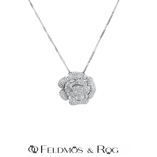 Amazon.com: Diamond Rose Pendant Necklace, Natural White Diamond .