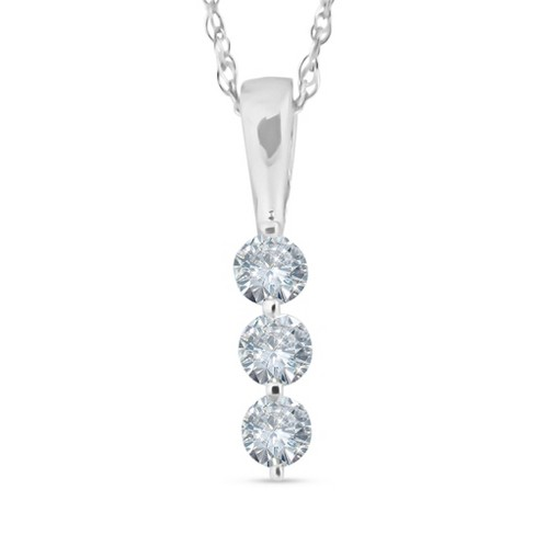 Pompeii3 1/4ct 3 Stone Round Three Diamond Pendant Necklace 14K .