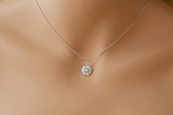 Single diamond necklace one stone necklace by ElegantAvenues .