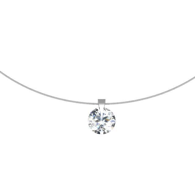 Single Prong Round Diamond Pendant Neckla