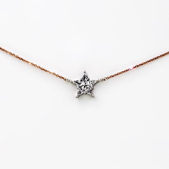 Diamond Star Necklace Delicate 14k Gold Layering Necklace | Et