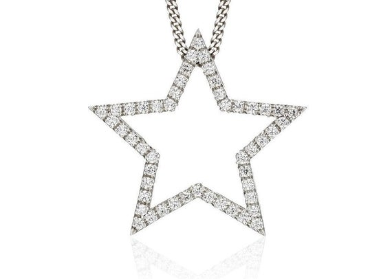 Diamond star Necklace 14k gold star necklace solid gold | Et