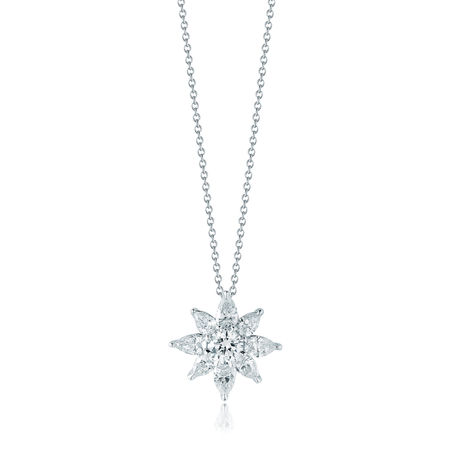 Kwiat Classic Platinum & Diamond Cluster Star Neckla