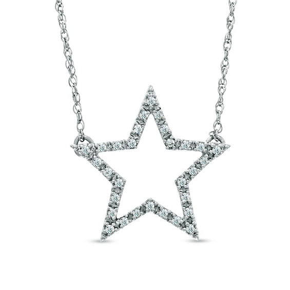 1/8 CT. T.W. Diamond Star Necklace in Sterling Silver | Diamond .