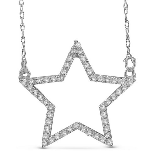 Pompeii3 14k White Gold 1/4ct Diamond Star Pendant Necklace : Targ