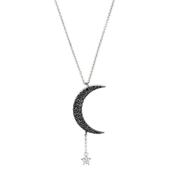 Diamond Crescent Moon and Star Necklace | Meira T Boutiq