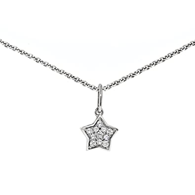 Amazon.com: ZE Sterling Silver Diamond Star Necklace: Pendant .