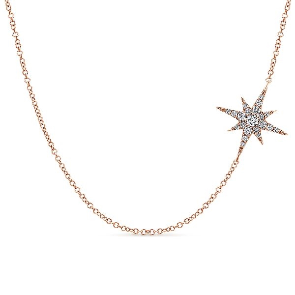 14K Rose Gold Diamond Star Neckla