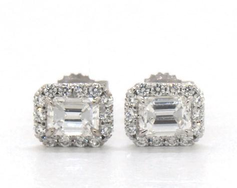 earrings, diamond earrings, 18k white gold emerald cut halo .
