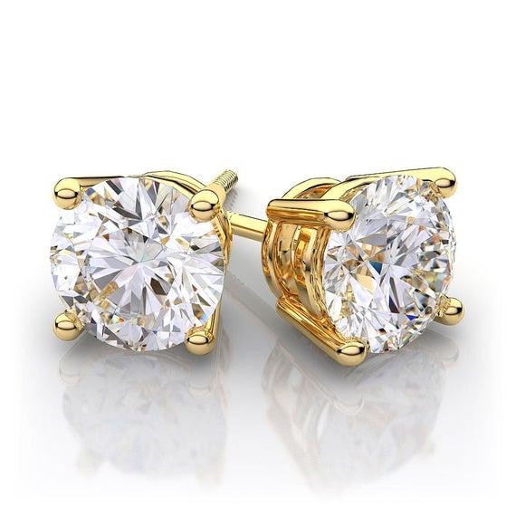 1 carat Yellow Gold Diamond Stud Earrings 14k diamond gold | Et