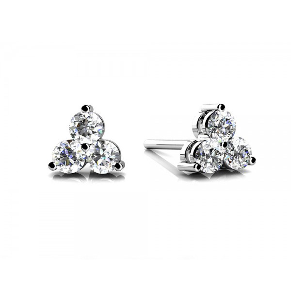 Three-Stone Diamond Stud Earrings 0.20 - 0.65 Carats, Gold or .