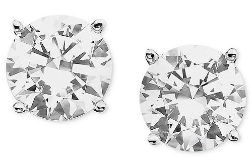 Macy's Certified Colorless Diamond Stud Earrings in 18k White Gold .