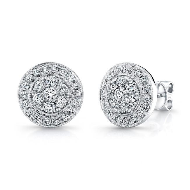 14K White Gold Round Diamond Stud Earrings LVE291 - Uneek - Designe