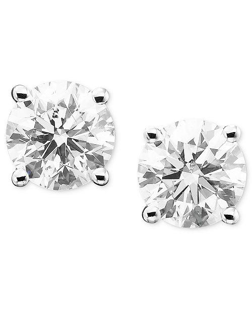 Macy's Diamond Stud Earrings in 14k Gold or White Gold & Reviews .