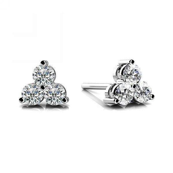 Fine Diamond Trillium Stud Earrings 14k White Go