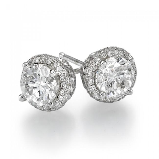 Diamond Stud Earrings - Fancy - 1 Carat 1.00ct Round Cut in 14K .
