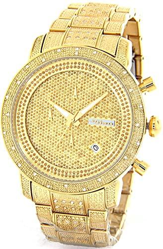 Amazon.com: JOJINO 1.05ct Real Diamond Watch Mens Deluxe Gold Tone .