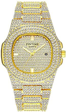 Amazon.com: Unisex Luxury Full Diamond Watches Silver/Gold Fashion .