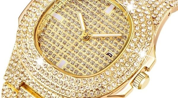 Mens Watches Diamond 14K Gold Plated Filled Watch Gold Diamond .