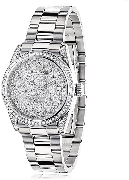 Amazon.com: Iced Out LUXURMAN Women's Diamond Watch Tribeca 1.5ct .