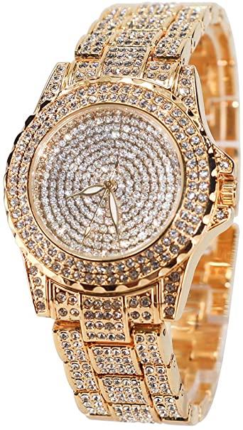 Amazon.com: Smalody Round Luxury Women Watch Crystal Rhinestone .
