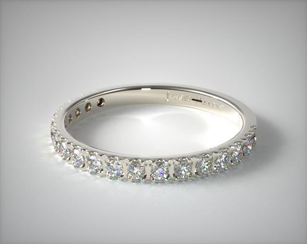 0.29ct Art Nouveau Pave Set Diamond Wedding Ring | 14K White Gold .