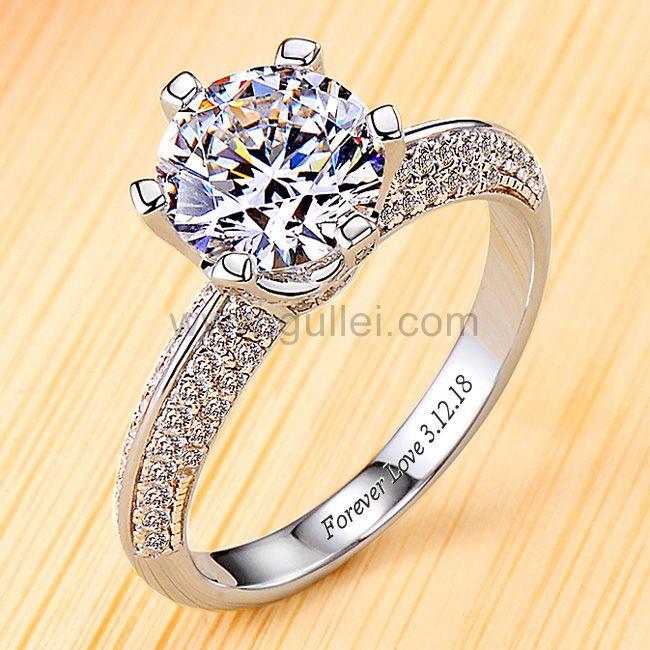 Gullei 0.6ct Round Diamond Womens Wedding Ring with Name .