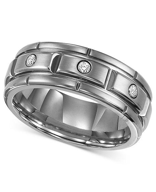 Triton Men's Titanium Ring, Three Diamond Wedding Band (1/10 ct .