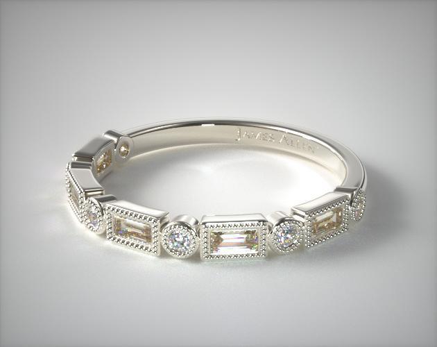14K White Gold Round and Baguette Milgrain Diamond Wedding Ri