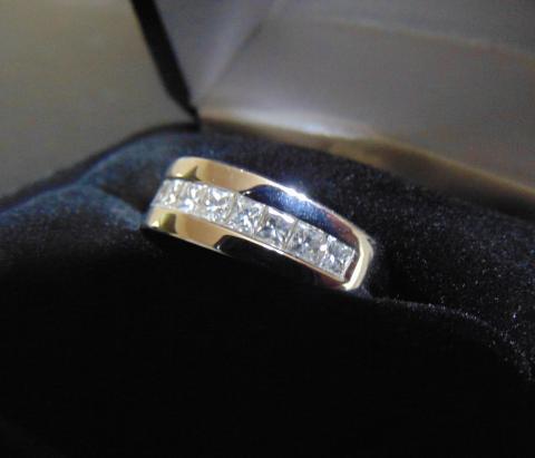 Men's 1 ct TW Princess-cut White Gold Diamond Wedding Band | I Do .