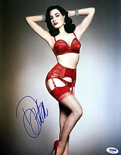 DITA VON TEESE SIGNED AUTOGRAPHED 11x14 PHOTO VERY SEXY LINGERIE .