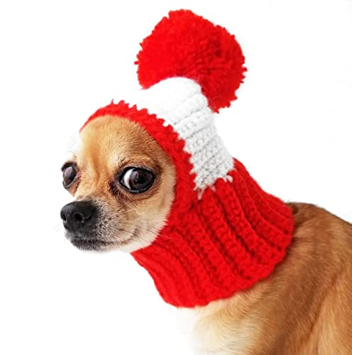 Amazon.com: Crocheted Snood For Dogs Red Dog Hat With Pompon Funny .