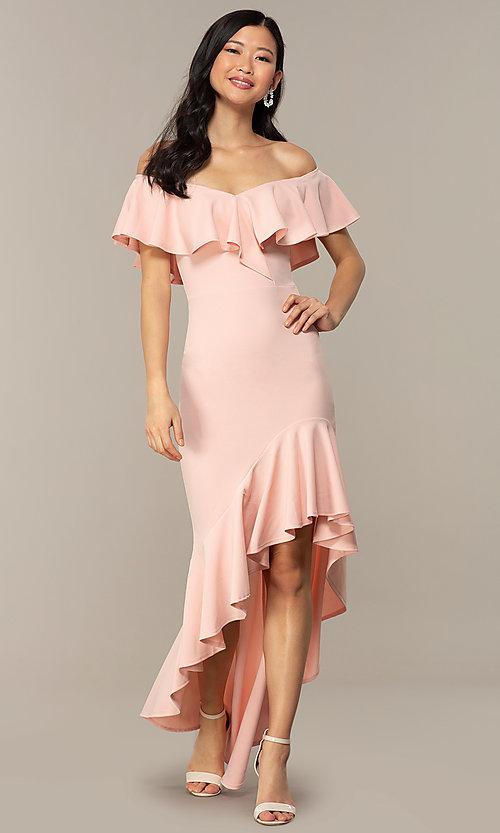 Off-Shoulder Wedding-Guest High-Low Dress - PromGi
