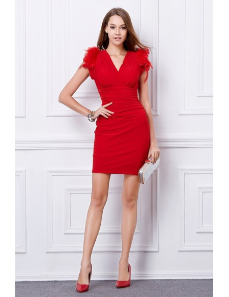 Sexy Sheath V-neck Wedding Guest Dresses With Feather #DK59 .