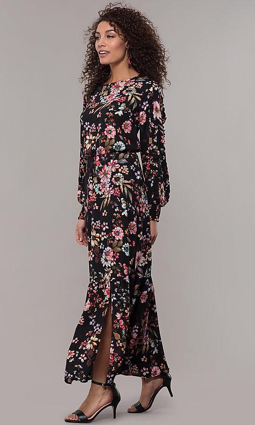 Long-Sleeve Floral-Print Maxi Wedding-Guest Dre
