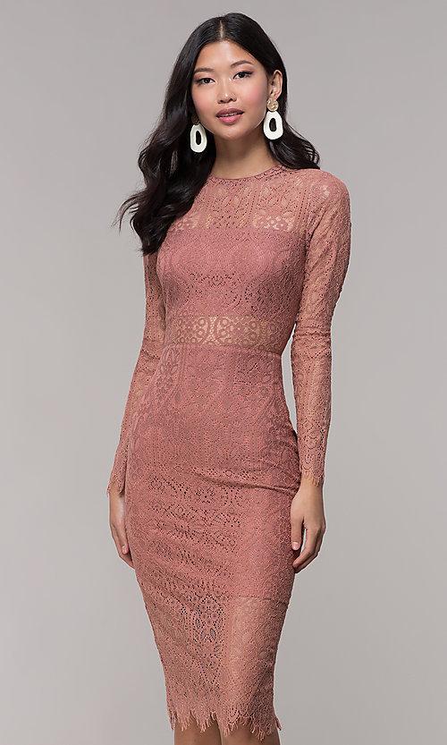 Midi Mauve Wedding-Guest Dress with Sleeves - PromGi