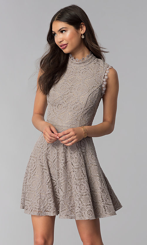 Taupe Short Lace Wedding-Guest Dress with High Ne