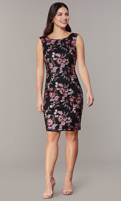 Embroidered Sleeveless Wedding-Guest Short Dre