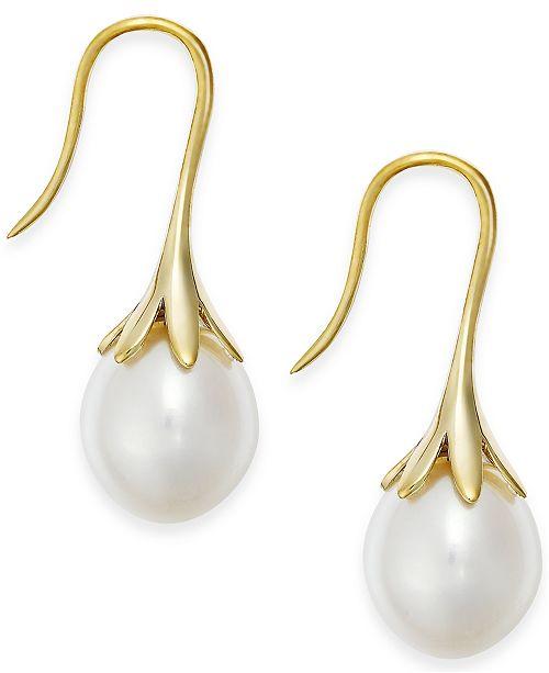 Macy's Cultured Freshwater Pearl Drop Earrings in 14K Yellow Gold .