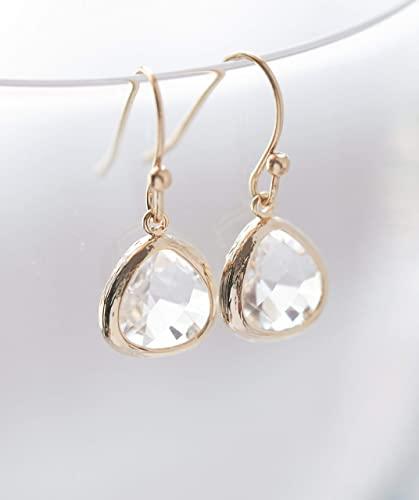 Amazon.com: Clear Crystal Glass Drop Earrings: Handma