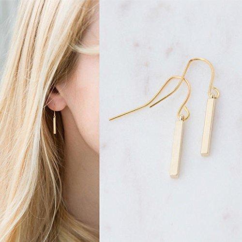 Amazon.com: Gold or Silver Dainty Bar Drop Earrings: Handma