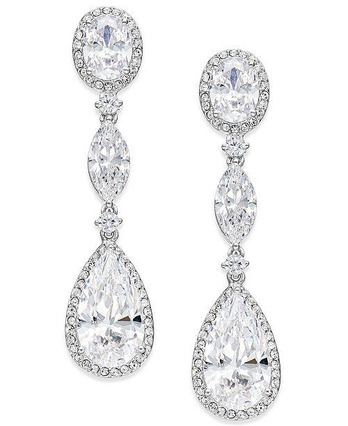 Eliot Danori Oval Crystal Drop Earrings, Created for Macy's .