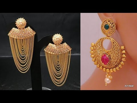 New Gold Earrings Designs - Latest Light Weight Gold Jewellery .