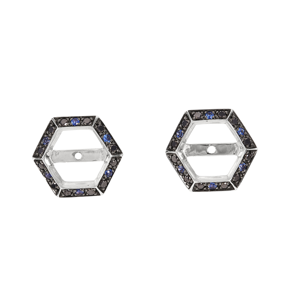 STEPHEN WEBSTER Deco Sapphire & Black Diamond Earring .