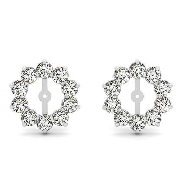 14k White Gold 2.00ct t.w Diamond Earring Jackets - USA Stu