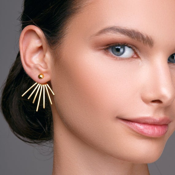 Spike earrings gold ear jacket earrings gold earring jackets | Et