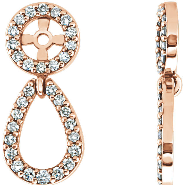 Diamond Earring Jackets In 14K Rose Gold (1/3 ct. tw